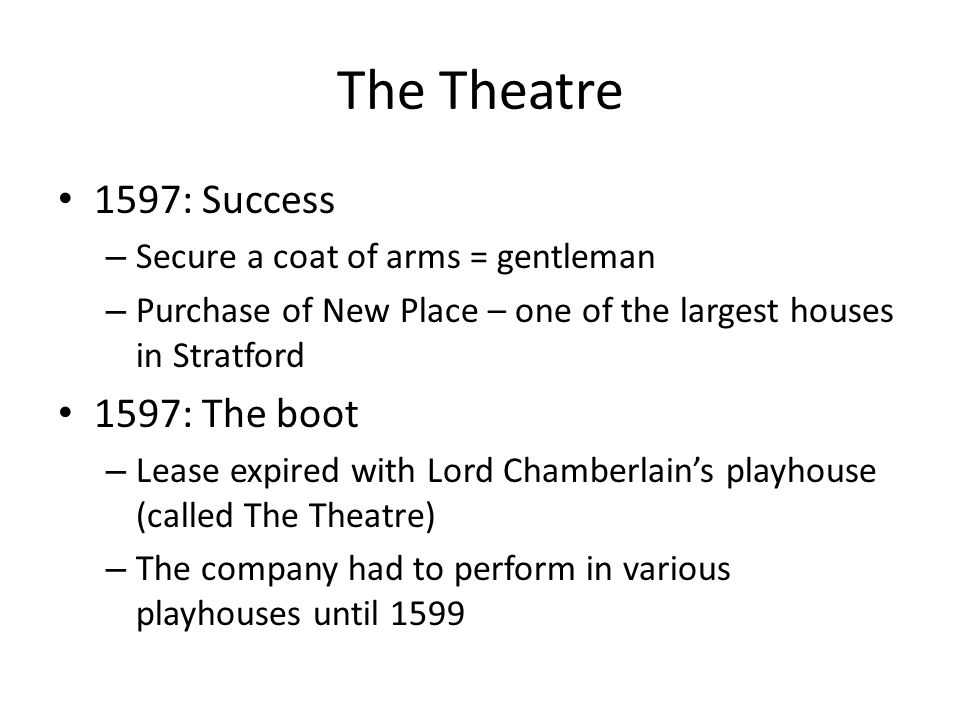 The Theatre 1597: Success 1597: The boot