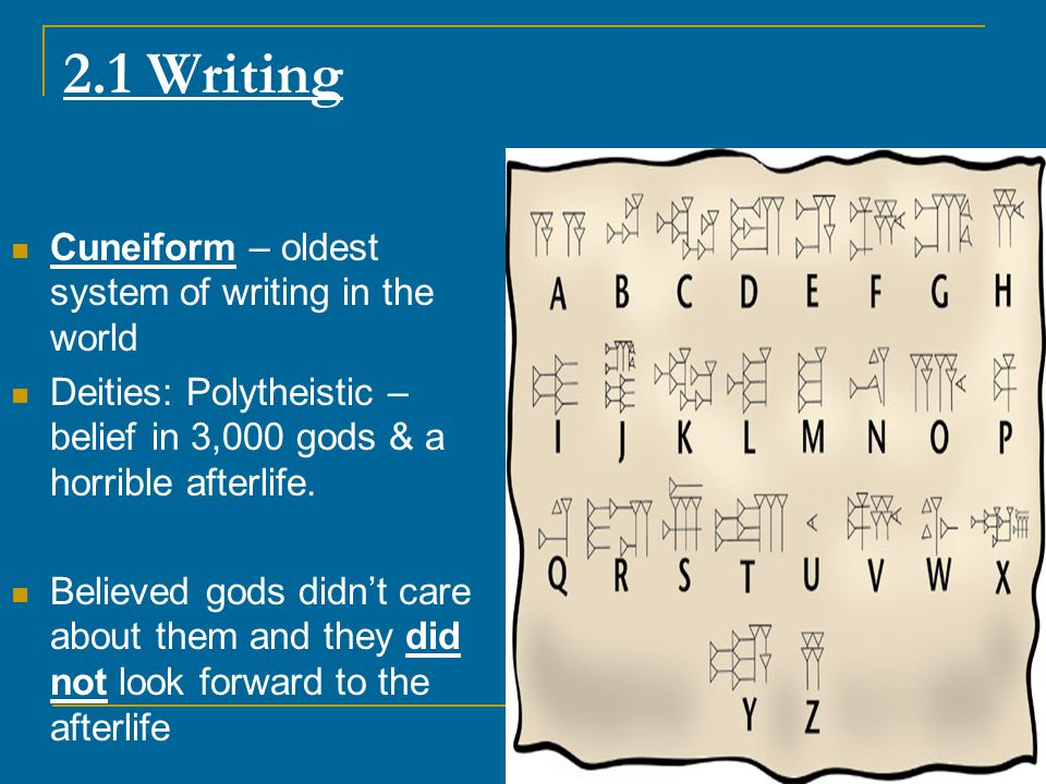 2.1 Writing Cuneiform – oldest system of writing in the world