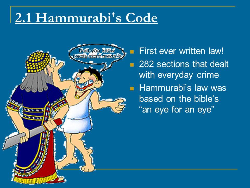 2.1 Hammurabi s Code First ever written law!