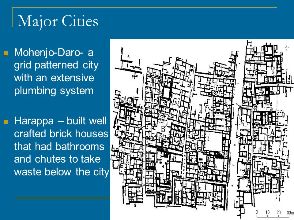 Major Cities Mohenjo-Daro- a grid patterned city with an extensive plumbing system.
