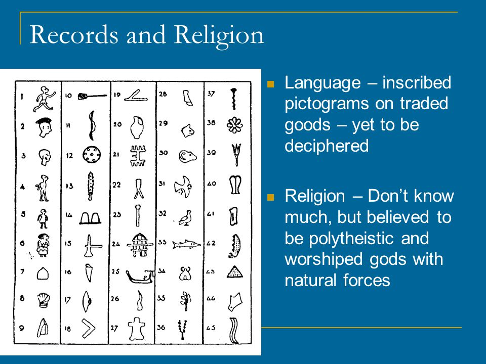 Records and Religion Language – inscribed pictograms on traded goods – yet to be deciphered.