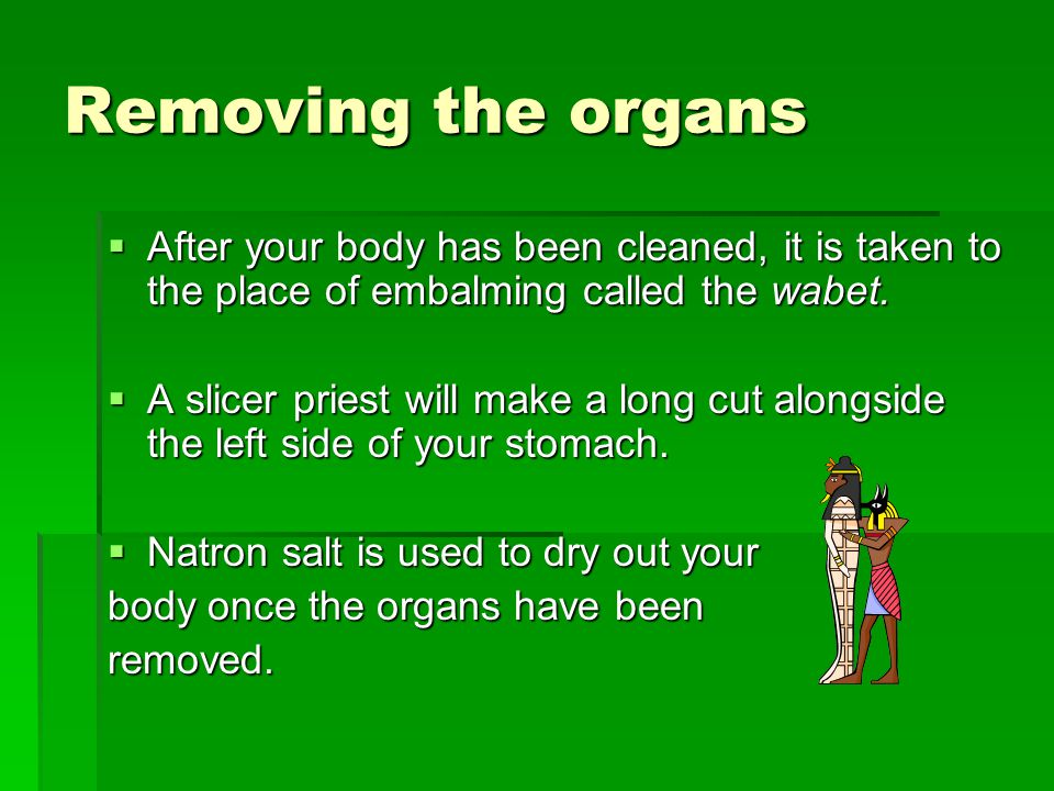 Removing the organs After your body has been cleaned, it is taken to the place of embalming called the wabet.