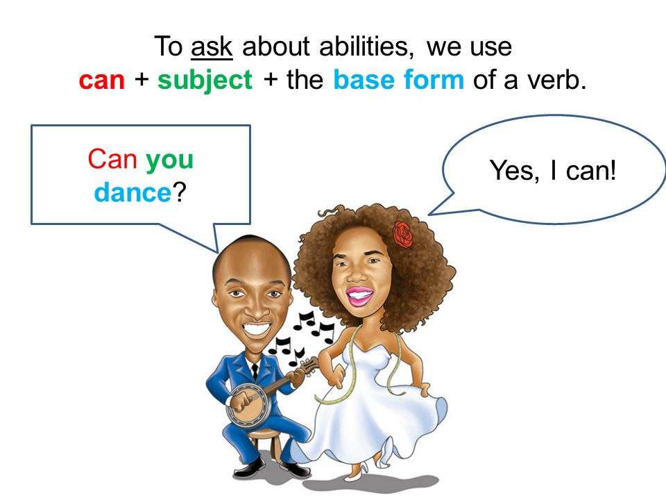 To ask about abilities, we use can + subject + the base form of a verb.