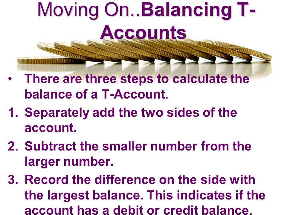 Moving On..Balancing T-Accounts