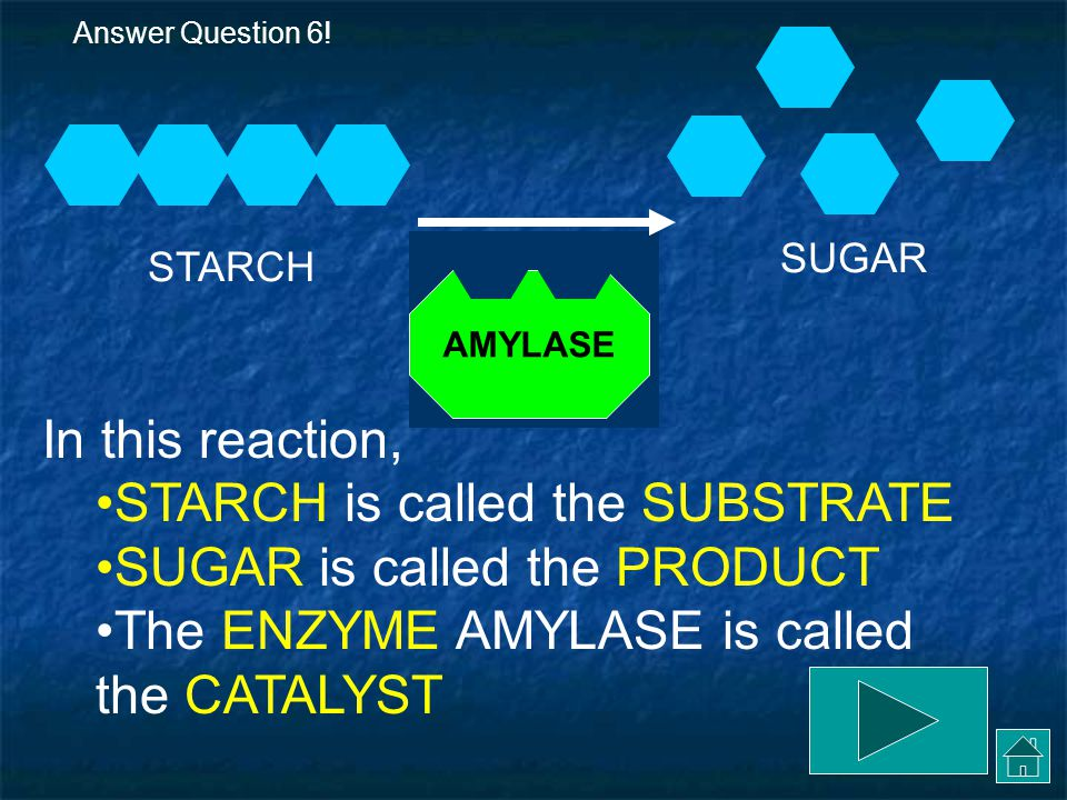 STARCH is called the SUBSTRATE SUGAR is called the PRODUCT