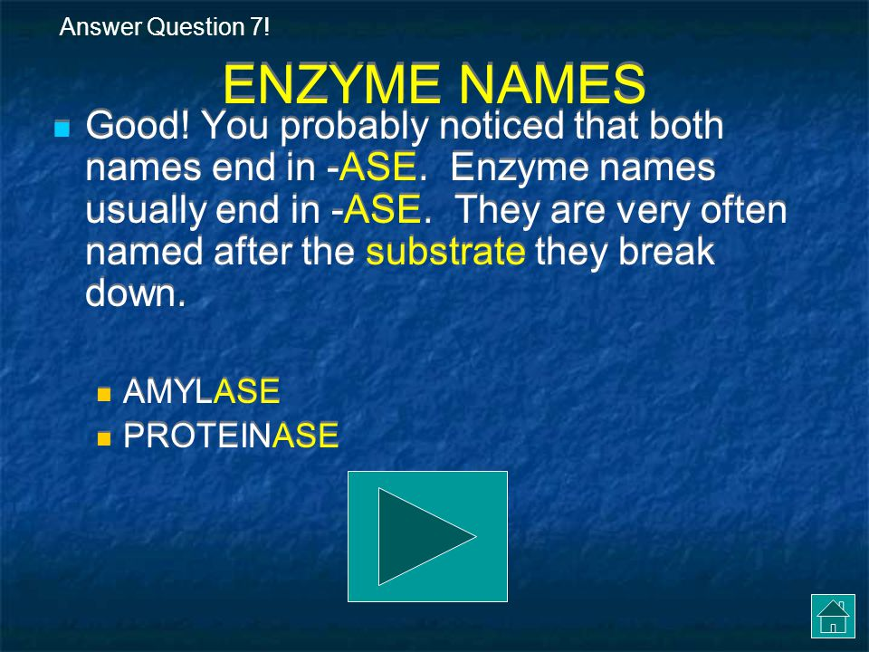 Answer Question 7! ENZYME NAMES.