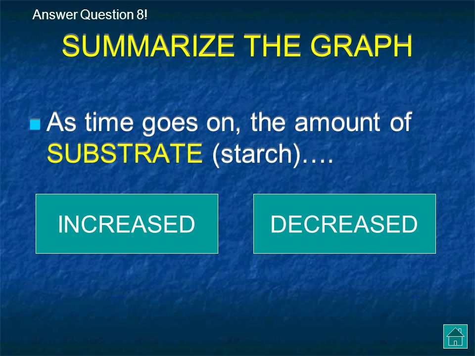 Answer Question 8! SUMMARIZE THE GRAPH. As time goes on, the amount of SUBSTRATE (starch)…. INCREASED.