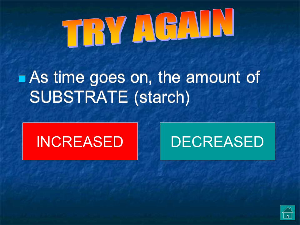 As time goes on, the amount of SUBSTRATE (starch)