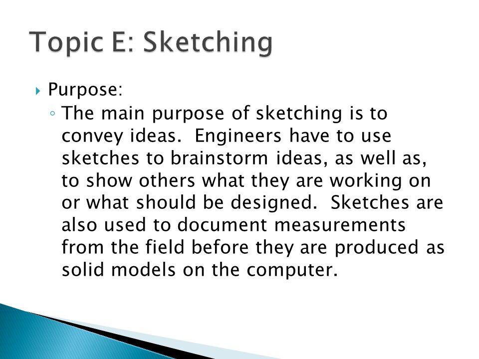 Topic E: Sketching Purpose: