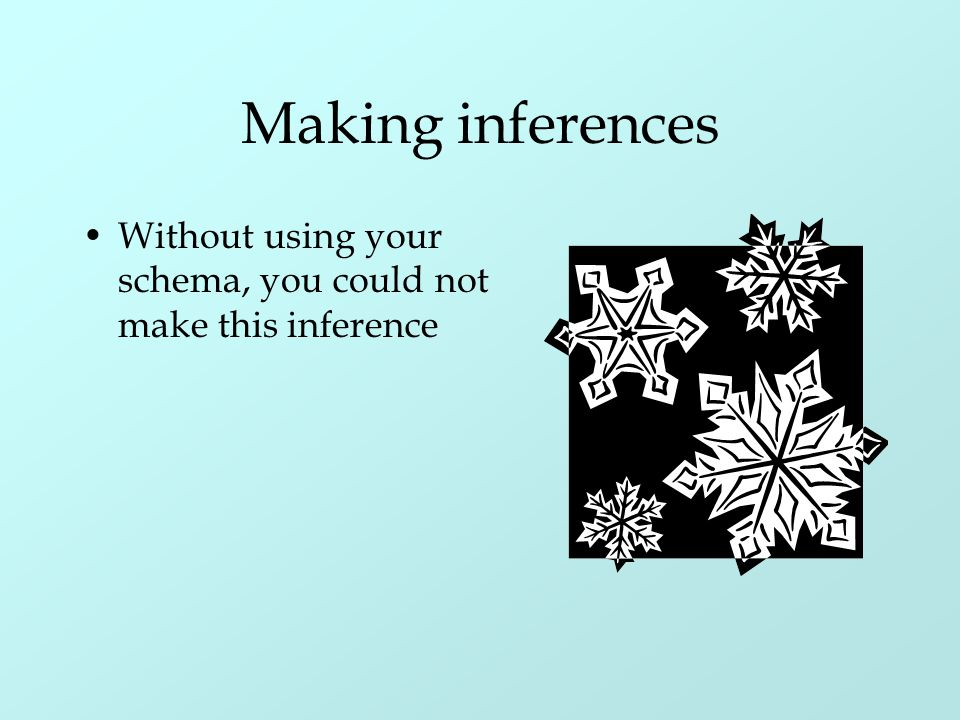 Making inferences Without using your schema, you could not make this inference