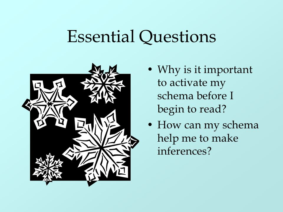 Essential Questions Why is it important to activate my schema before I begin to read.