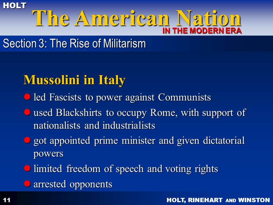 Mussolini in Italy Section 3: The Rise of Militarism