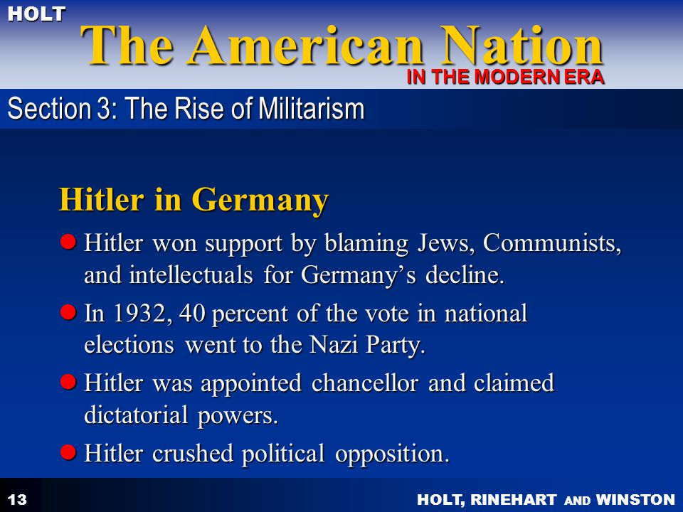 Hitler in Germany Section 3: The Rise of Militarism