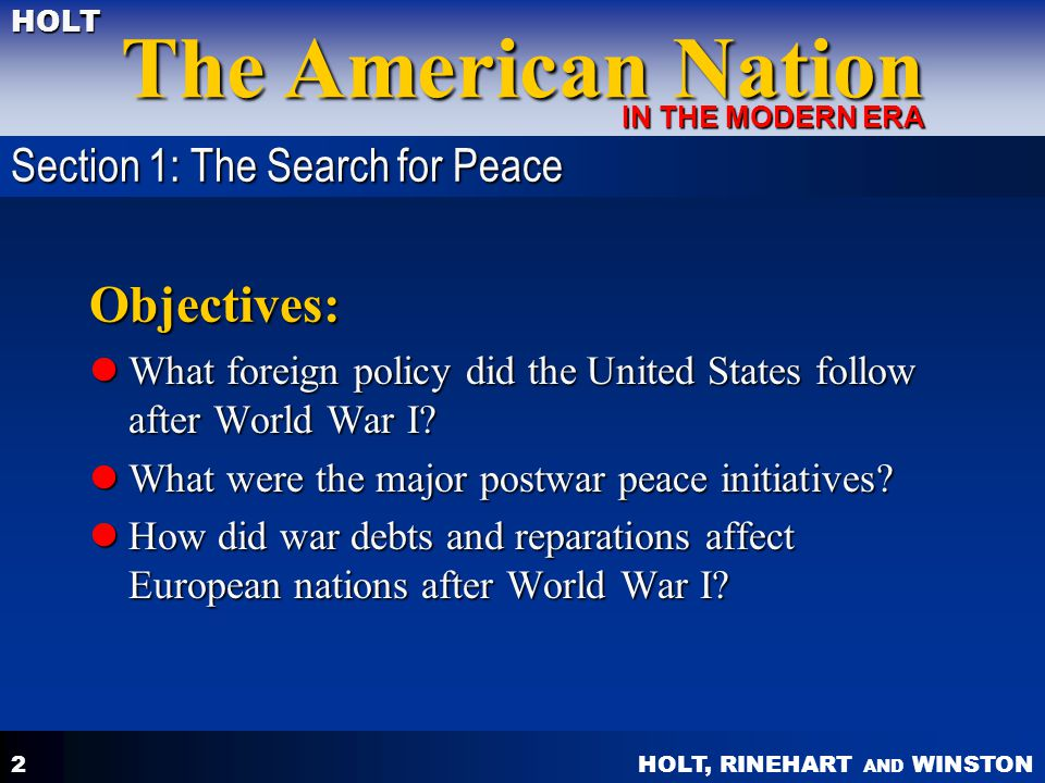 Objectives: Section 1: The Search for Peace