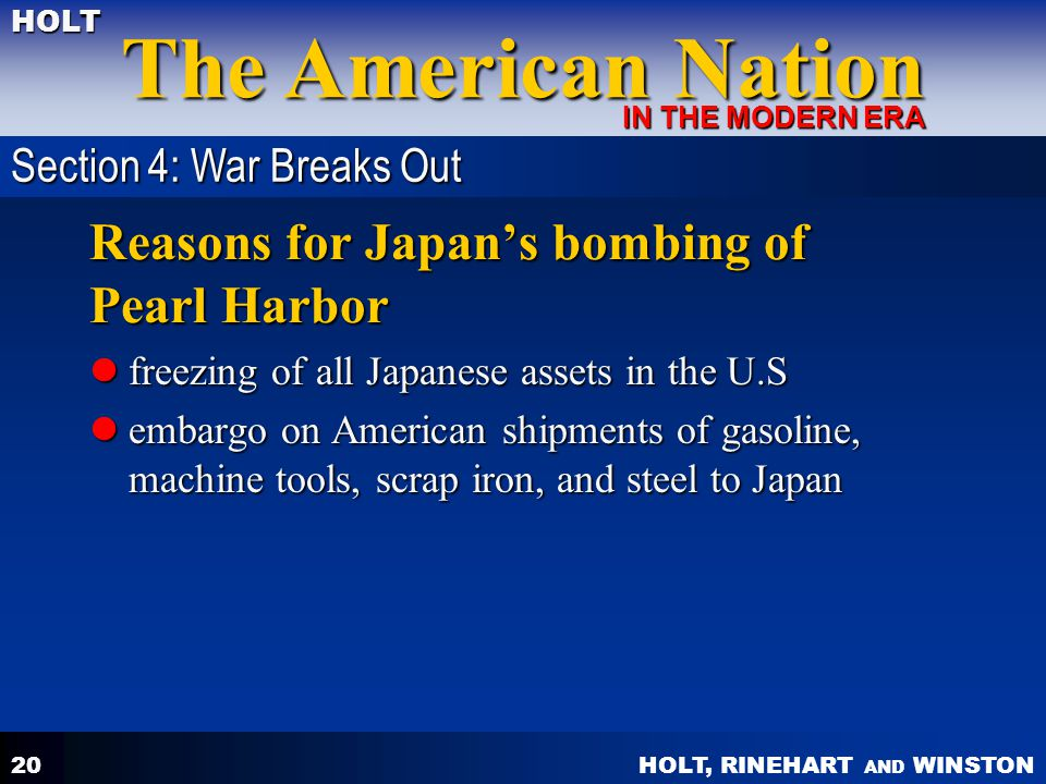 Reasons for Japan's bombing of Pearl Harbor