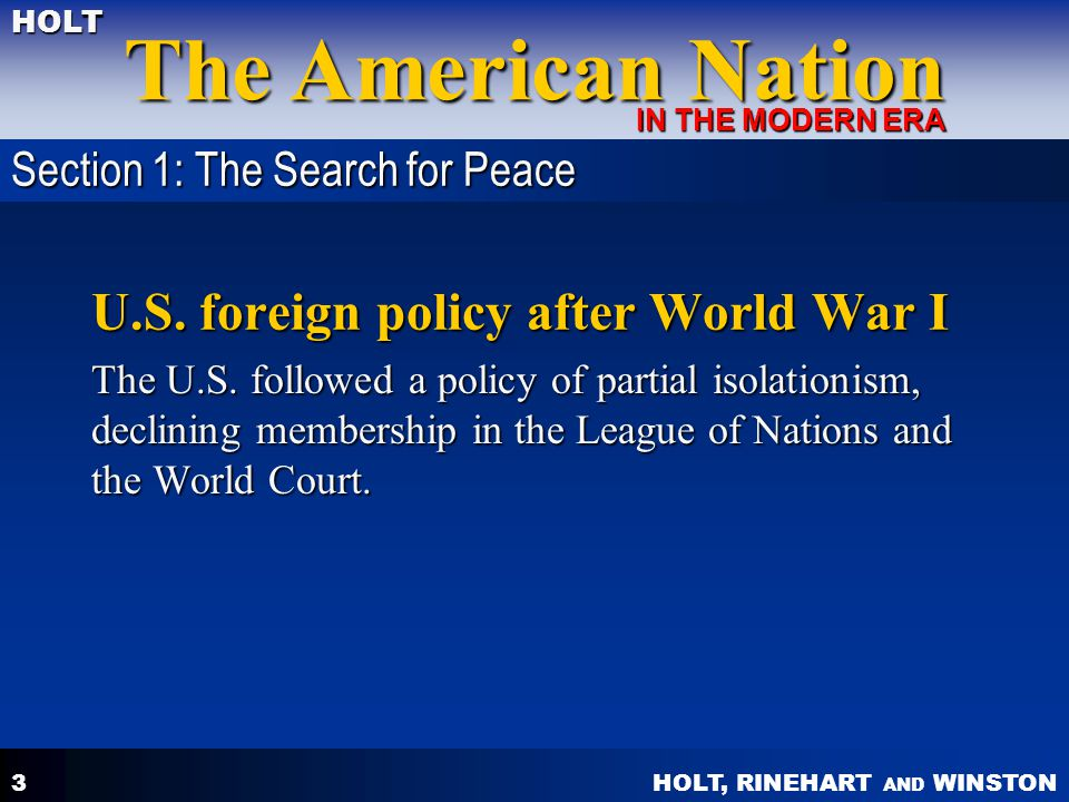 U.S. foreign policy after World War I