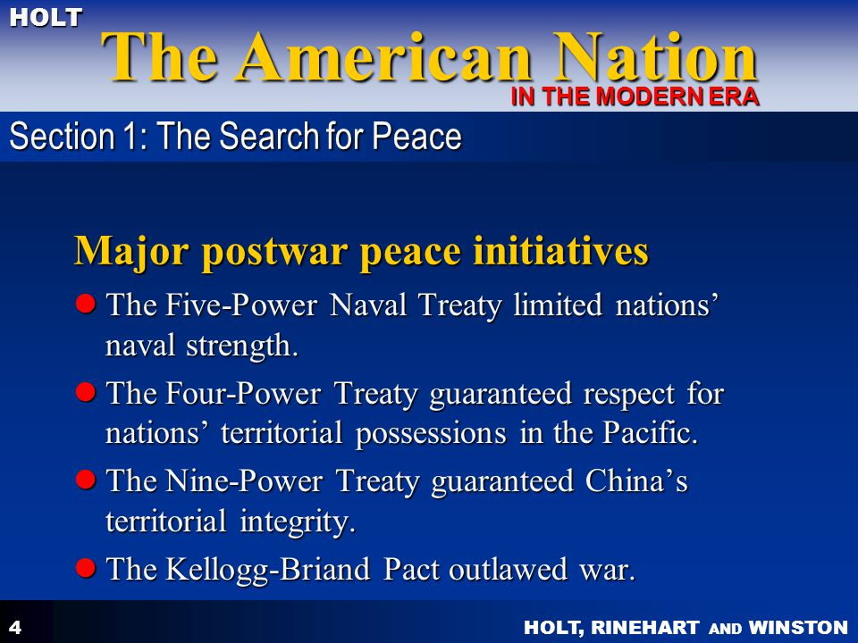 Major postwar peace initiatives