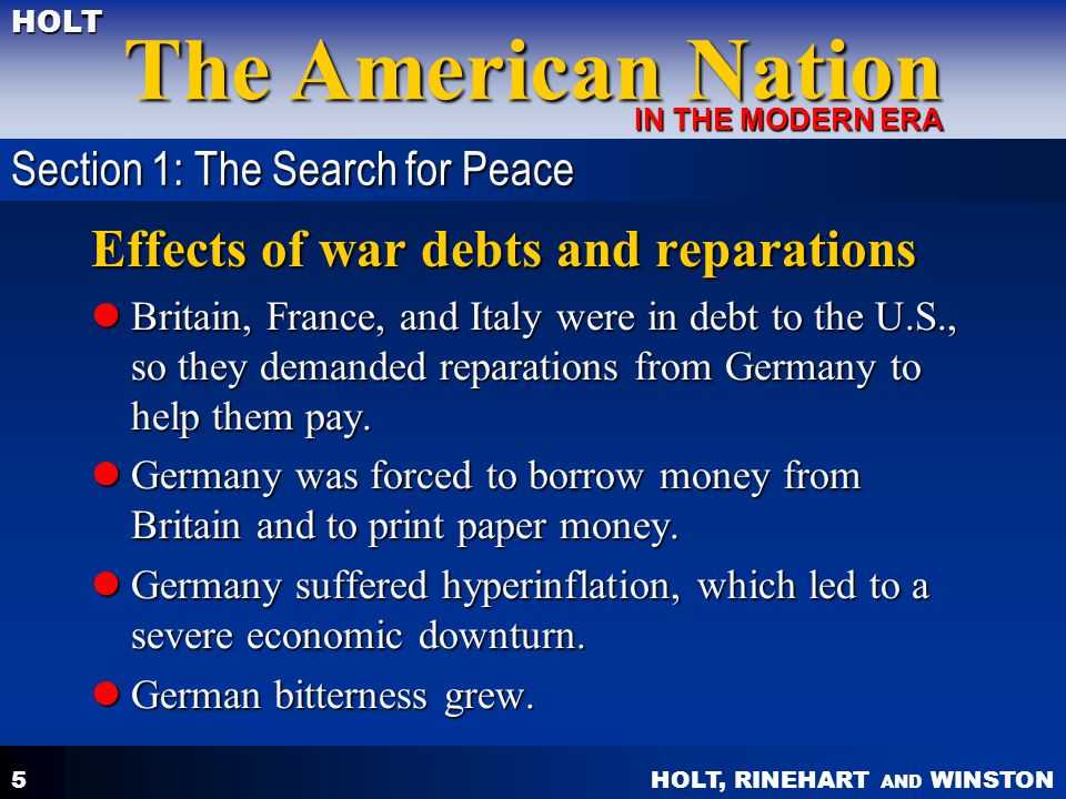 Effects of war debts and reparations