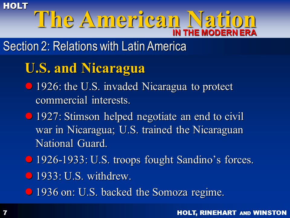U.S. and Nicaragua Section 2: Relations with Latin America