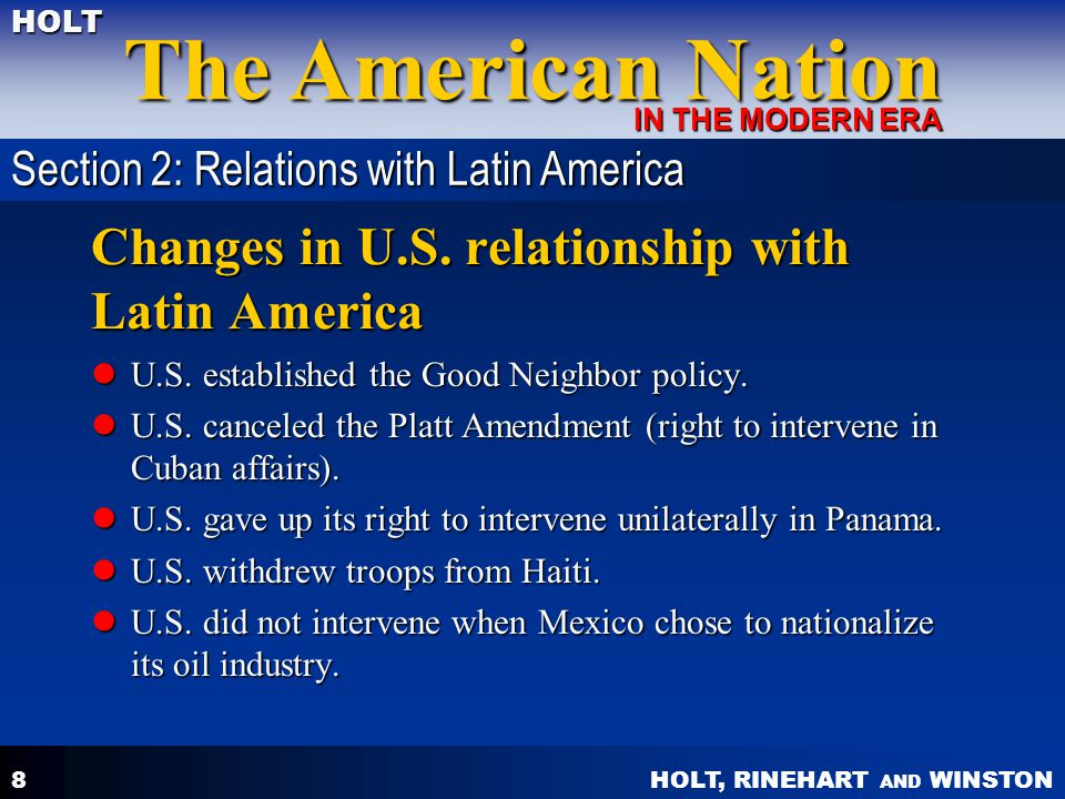 Changes in U.S. relationship with Latin America