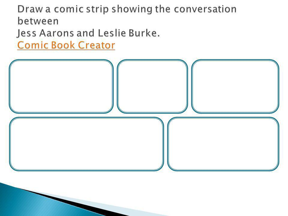 Draw a comic strip showing the conversation between Jess Aarons and Leslie Burke. Comic Book Creator