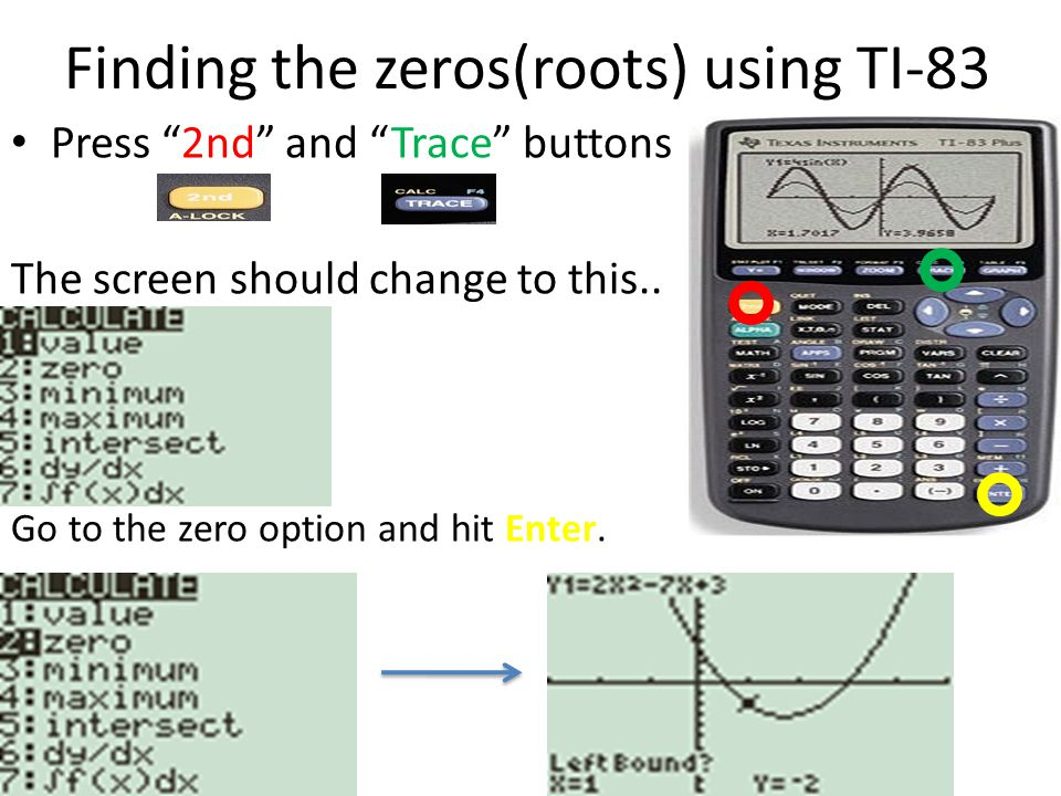 how to find zeros on ti 83