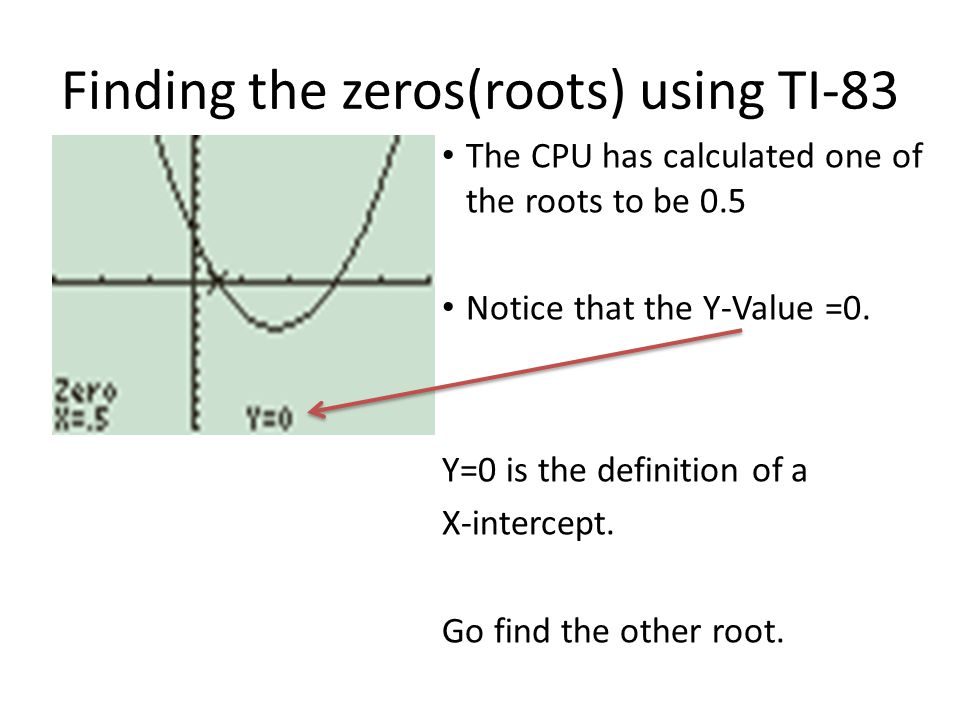 Finding the zeros(roots) using TI-83