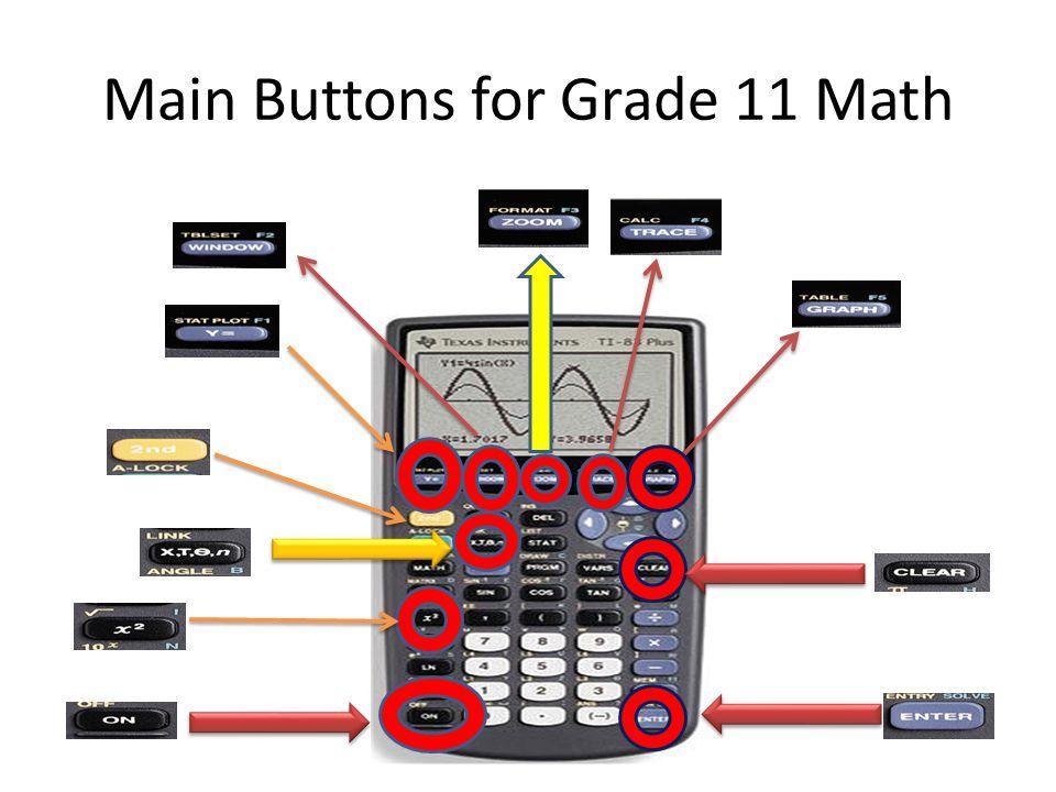 Main Buttons for Grade 11 Math