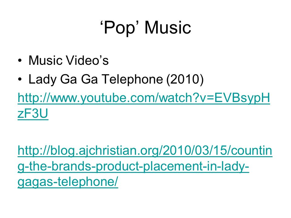 'Pop' Music Music Video's Lady Ga Ga Telephone (2010)