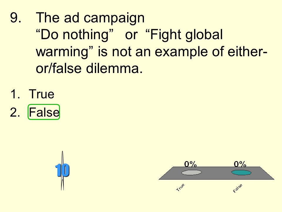 The ad campaign Do nothing or Fight global warming is not an example of either-or/false dilemma.