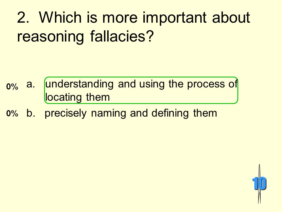 2. Which is more important about reasoning fallacies