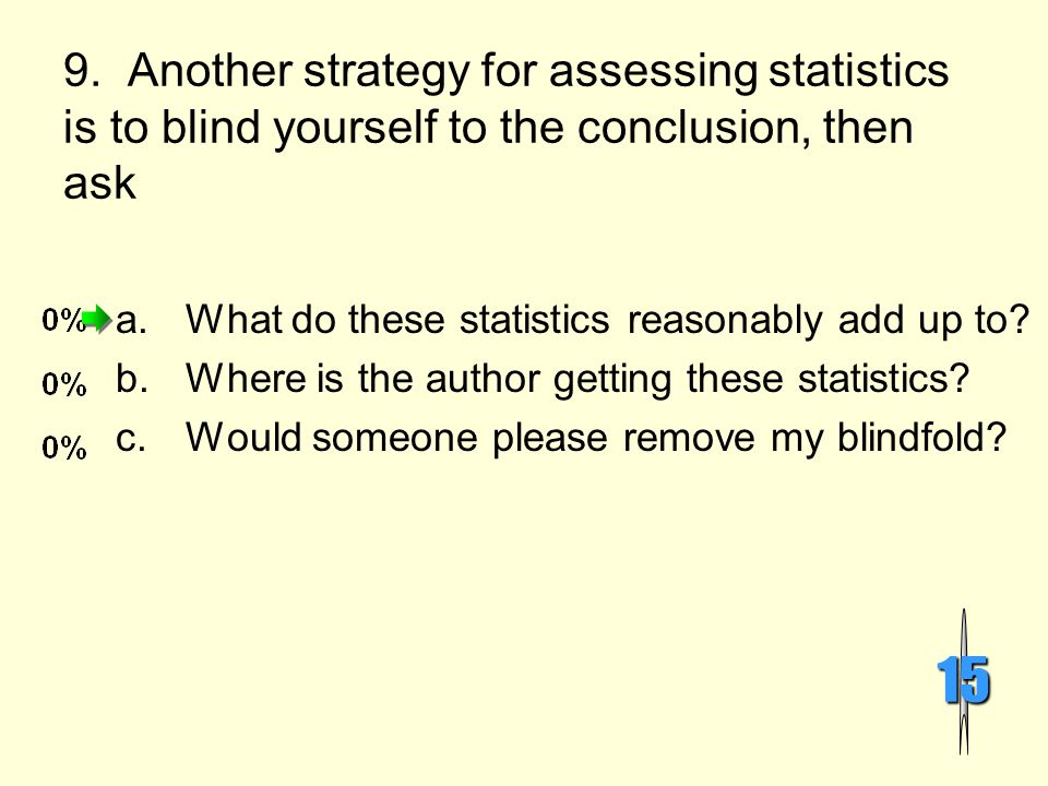 9. Another strategy for assessing statistics is to blind yourself to the conclusion, then ask