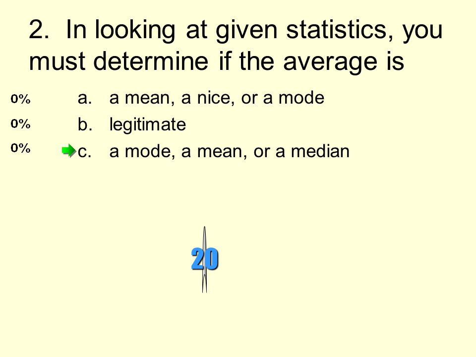 2. In looking at given statistics, you must determine if the average is