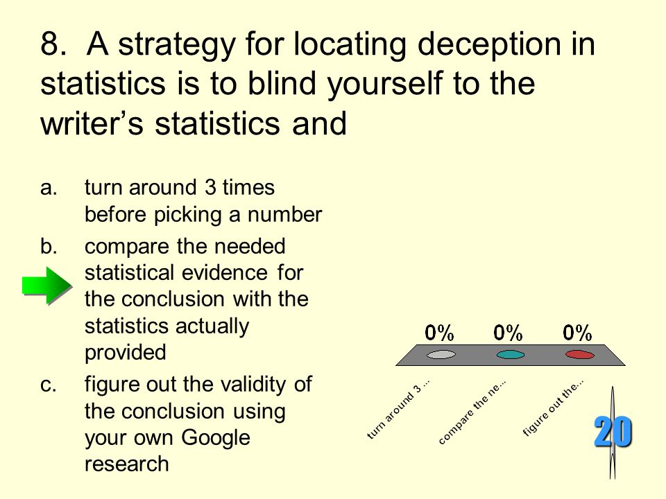 8. A strategy for locating deception in statistics is to blind yourself to the writer's statistics and
