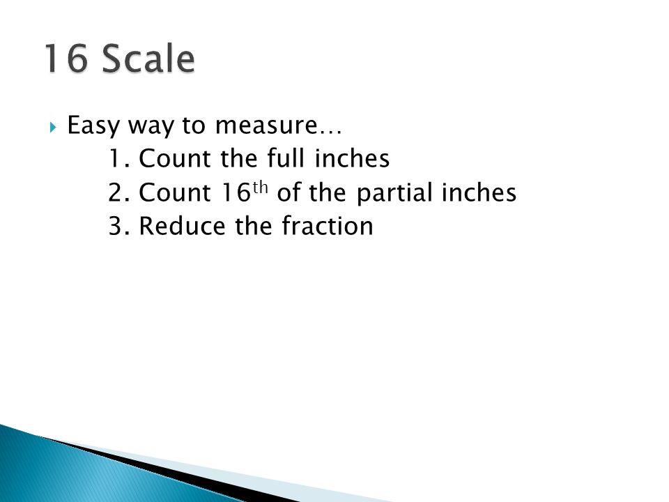 16 Scale Easy way to measure… 1. Count the full inches