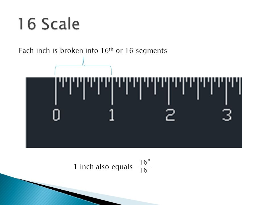 16 Scale Each inch is broken into 16th or 16 segments 16