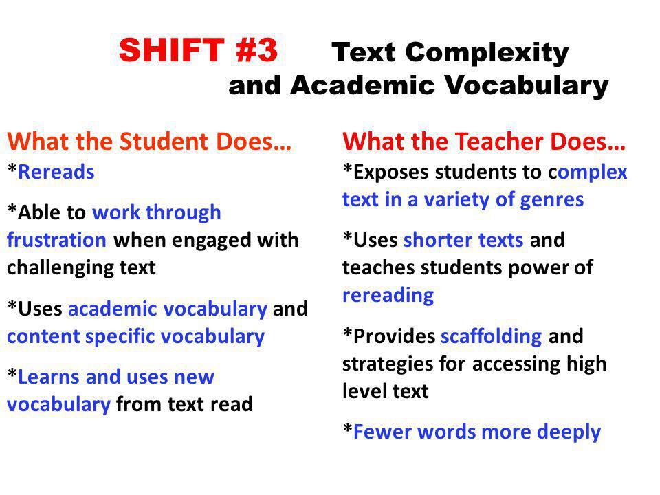SHIFT #3 Text Complexity and Academic Vocabulary