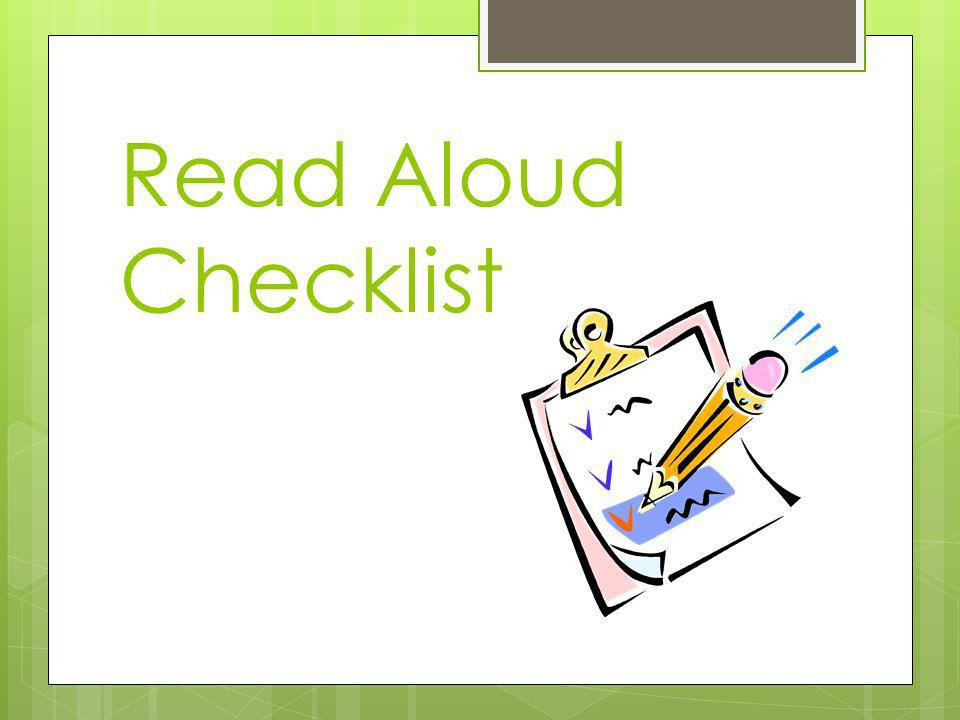 Read Aloud Checklist
