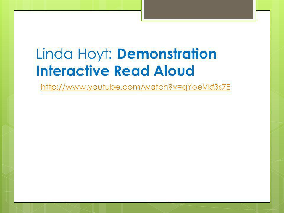 Linda Hoyt: Demonstration Interactive Read Aloud