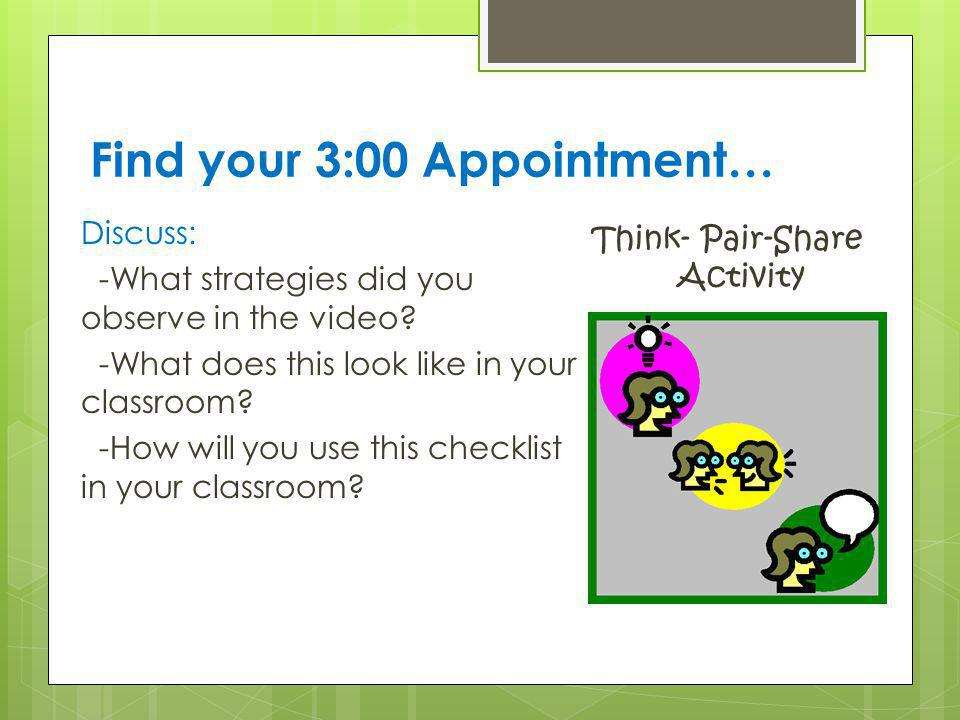 Find your 3:00 Appointment…