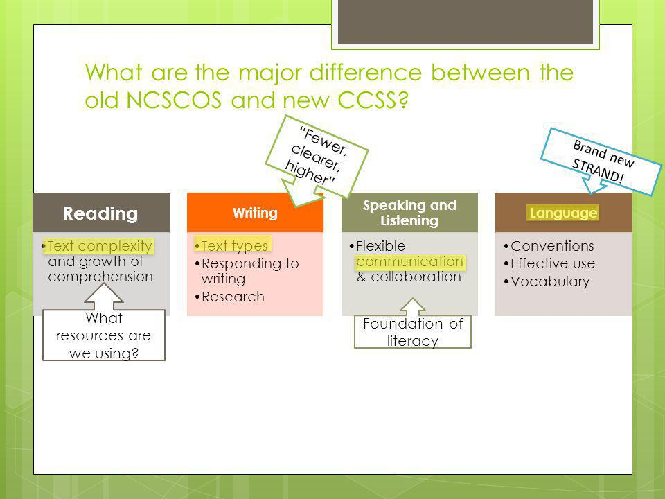 What are the major difference between the old NCSCOS and new CCSS