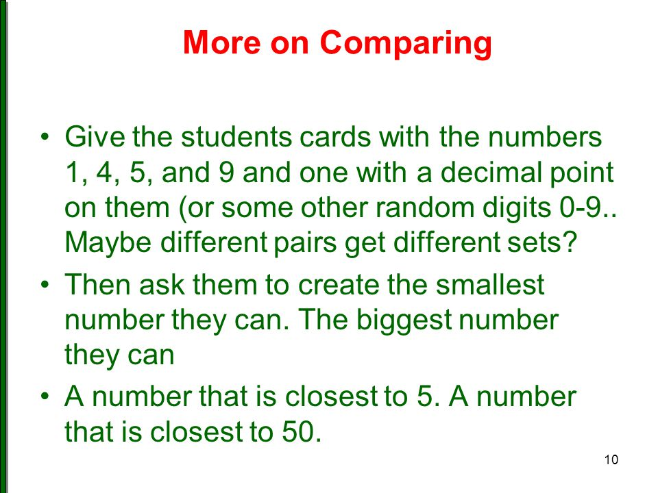 More on Comparing