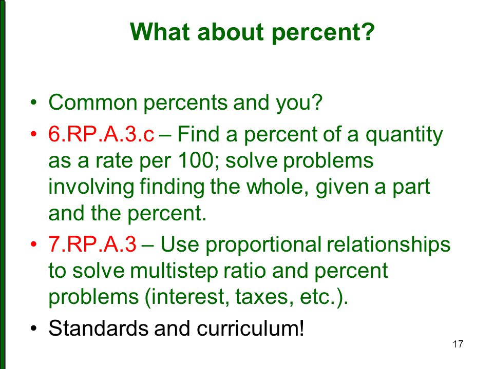 What about percent Common percents and you