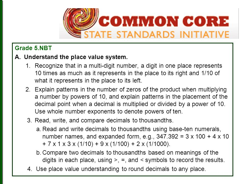 Understand the place value system.