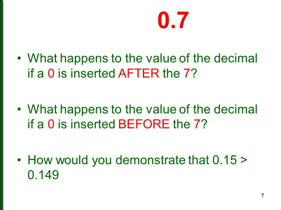 0.7 What happens to the value of the decimal if a 0 is inserted AFTER the 7