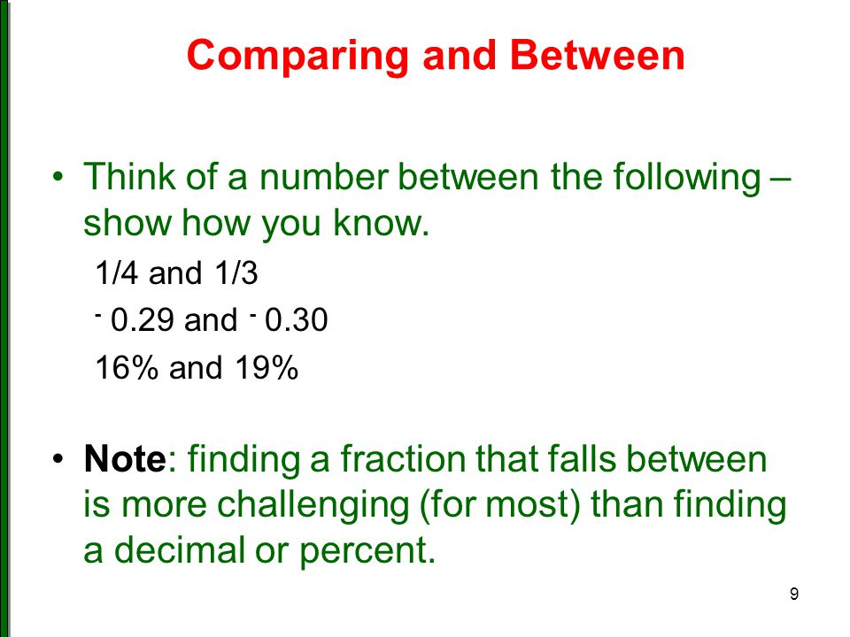 Comparing and Between Think of a number between the following – show how you know. 1/4 and 1/3. - 0.29 and - 0.30.
