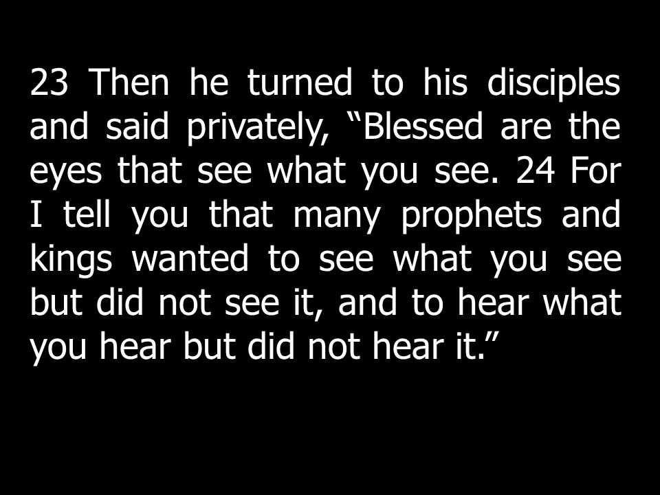 23 Then he turned to his disciples and said privately, Blessed are the eyes that see what you see. 24 For I tell you that many prophets and kings wanted to see what you see but did not see it, and to hear what you hear but did not hear it.