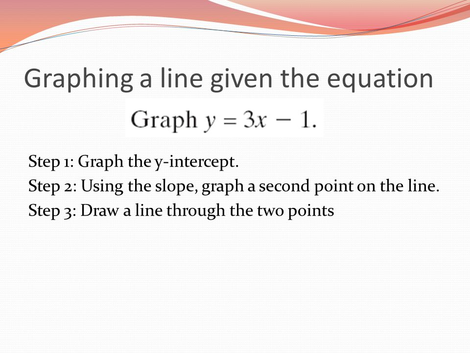 Graphing a line given the equation