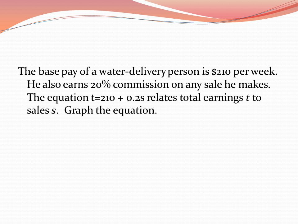 The base pay of a water-delivery person is $210 per week