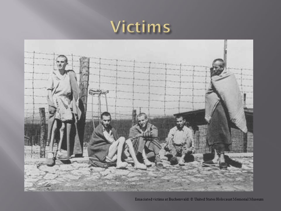 Victims Emaciated victims at Buchenwald: © United States Holocaust Memorial Museum